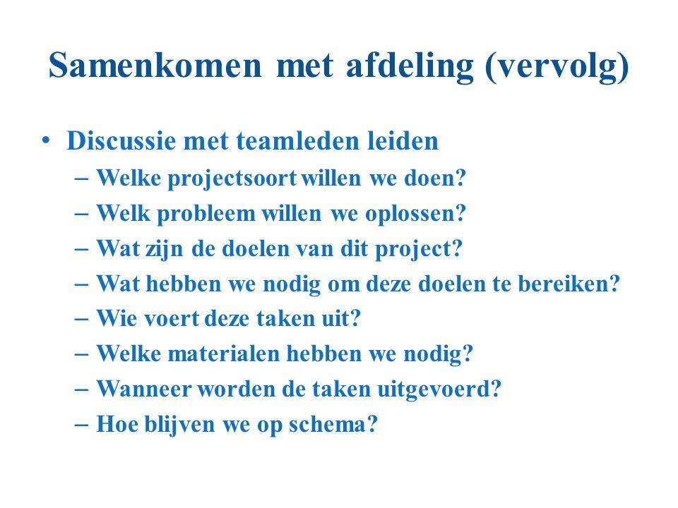 Samenkomen met afdeling (vervolg) Discussie met teamleden leiden – Welke projectsoort willen we doen? – Welk probleem willen we oplossen? – Wat zijn d
