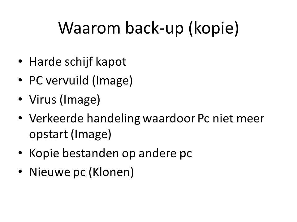 Waarom back-up (kopie) Harde schijf kapot PC vervuild (Image) Virus (Image) Verkeerde handeling waardoor Pc niet meer opstart (Image) Kopie bestanden op andere pc Nieuwe pc (Klonen)