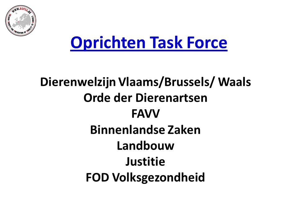 Oprichten Task Force Dierenwelzijn Vlaams/Brussels/ Waals Orde der Dierenartsen FAVV Binnenlandse Zaken Landbouw Justitie FOD Volksgezondheid