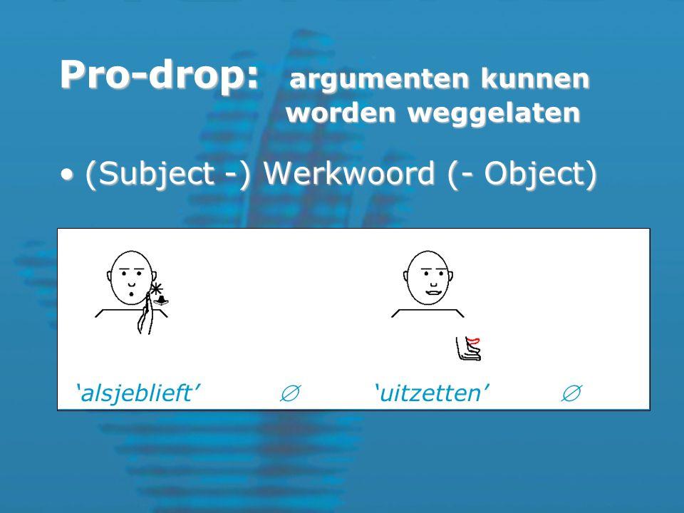 (Subject -) Werkwoord (- Object)(Subject -) Werkwoord (- Object) 'alsjeblieft''uitzetten'  Pro-drop: argumenten kunnen worden weggelaten