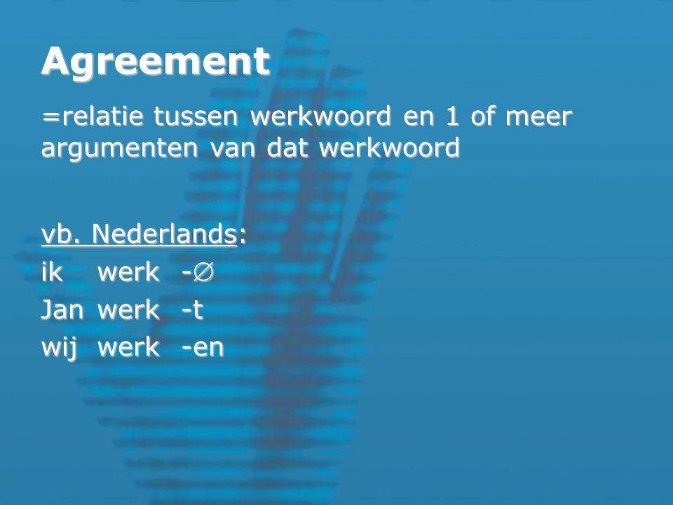 Agreement =relatie tussen werkwoord en 1 of meer argumenten van dat werkwoord vb.