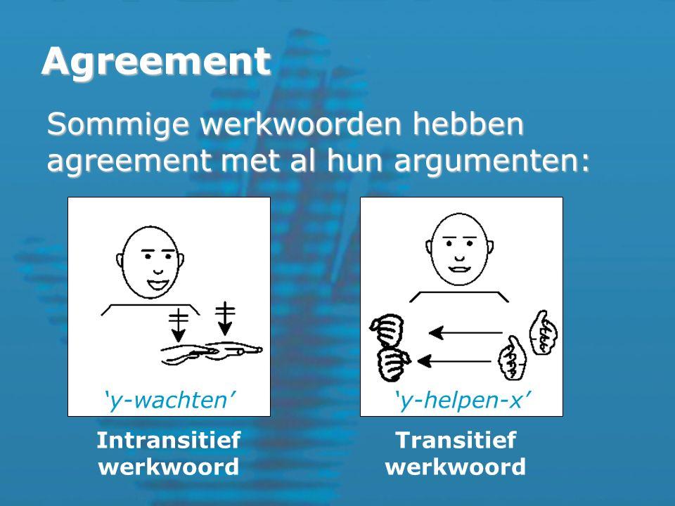 Agreement Sommige werkwoorden hebben agreement met al hun argumenten: 'y-wachten''y-helpen-x' Intransitief werkwoord Transitief werkwoord