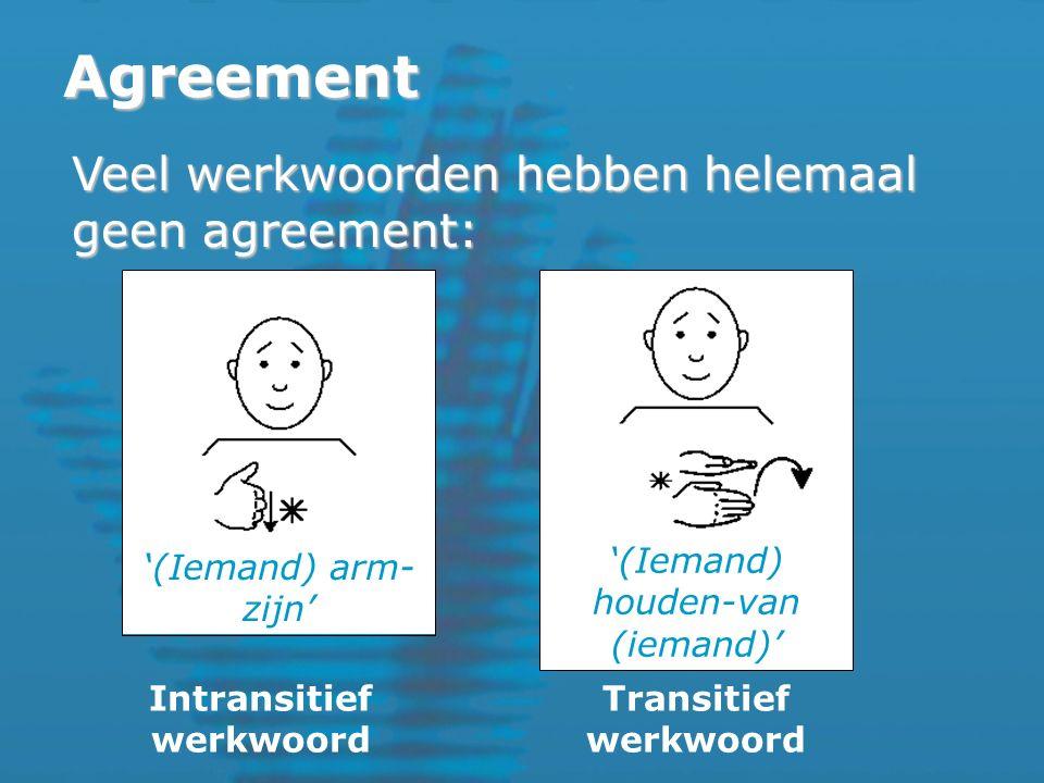 Agreement Veel werkwoorden hebben helemaal geen agreement: Intransitief werkwoord Transitief werkwoord '(Iemand) arm- zijn' '(Iemand) houden-van (iemand)'