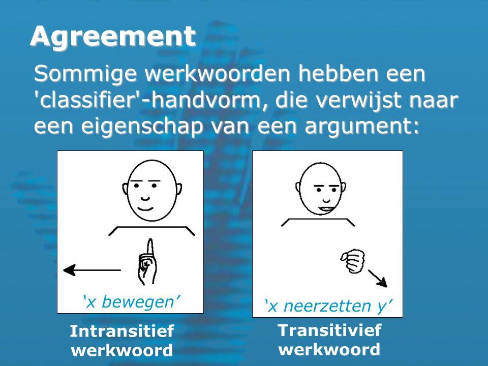 Agreement Sommige werkwoorden hebben een classifier -handvorm, die verwijst naar een eigenschap van een argument: Intransitief werkwoord Transitivief werkwoord 'x neerzetten y' 'x bewegen'