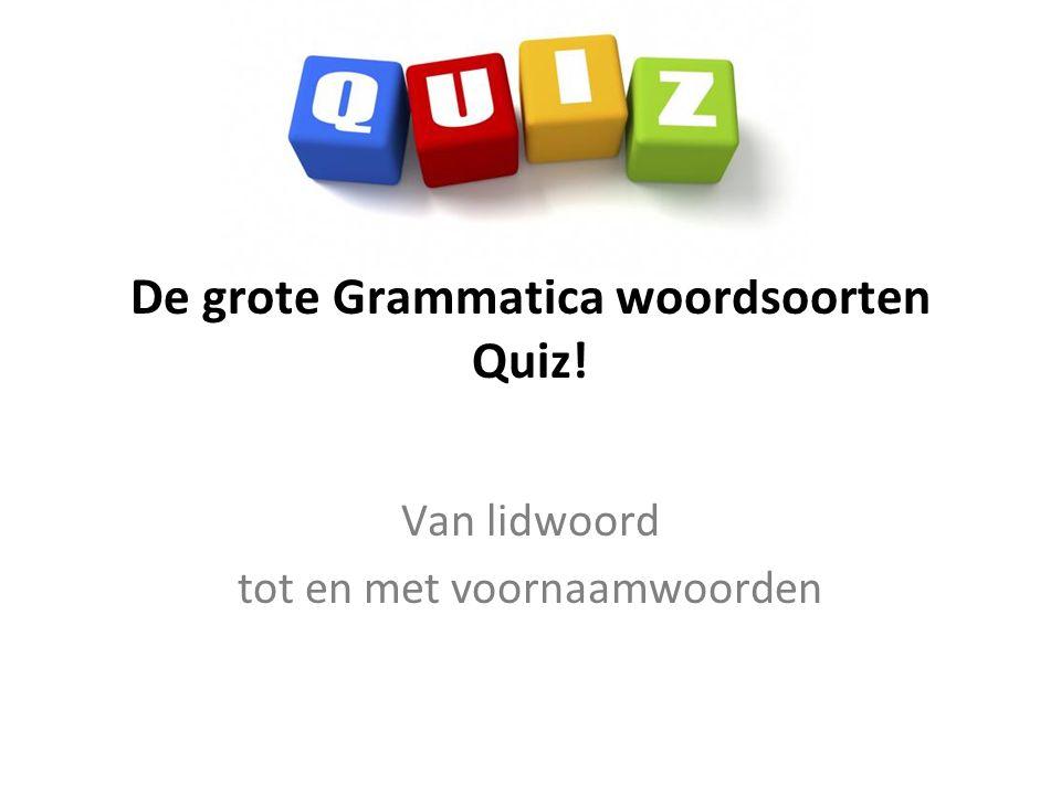 De grote Grammatica woordsoorten Quiz! Van lidwoord tot en met voornaamwoorden