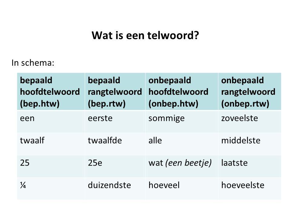 Wat is een telwoord? In schema: bepaald hoofdtelwoord (bep.htw) bepaald rangtelwoord (bep.rtw) onbepaald hoofdtelwoord (onbep.htw) onbepaald rangtelwo