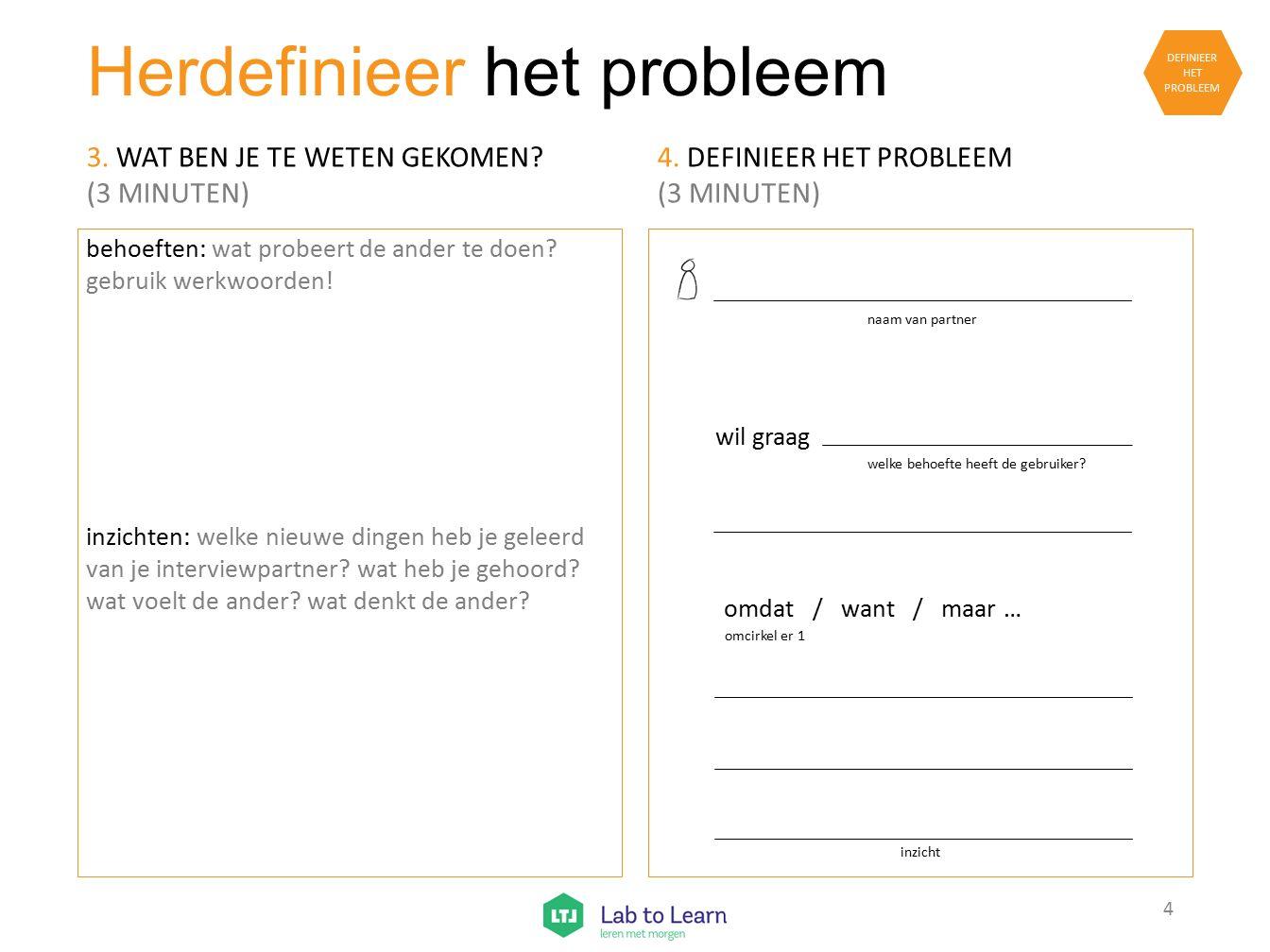 Herdefinieer het probleem behoeften: wat probeert de ander te doen? gebruik werkwoorden! inzichten: welke nieuwe dingen heb je geleerd van je intervie