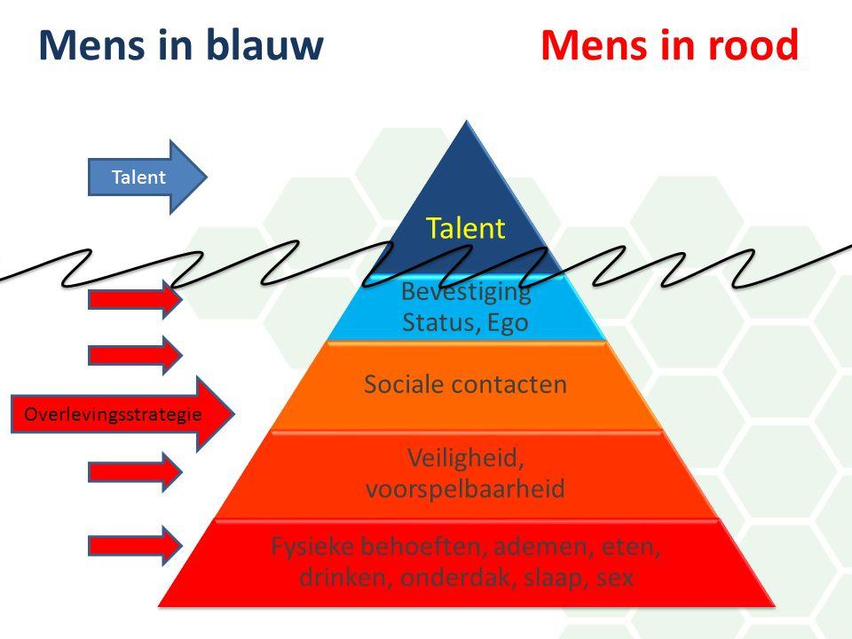 Talent Bevestiging Status, Ego Sociale contacten Veiligheid, voorspelbaarheid Fysieke behoeften, ademen, eten, drinken, onderdak, slaap, sex Overlevingsstrategie Talent Mens in blauw Mens in rood