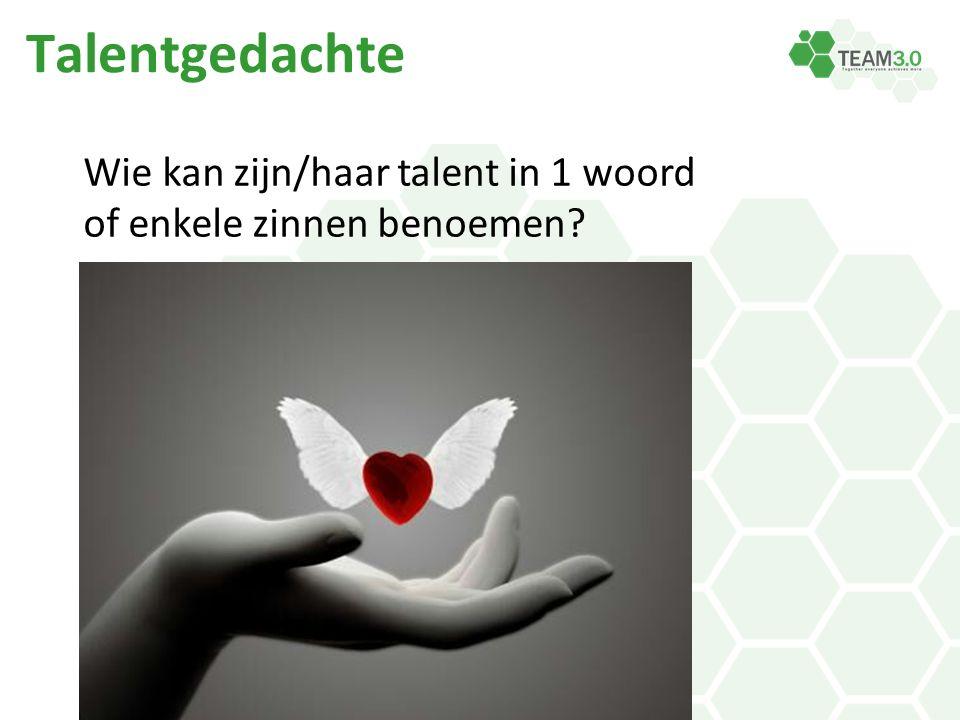 Talentgedachte Wie kan zijn/haar talent in 1 woord of enkele zinnen benoemen?