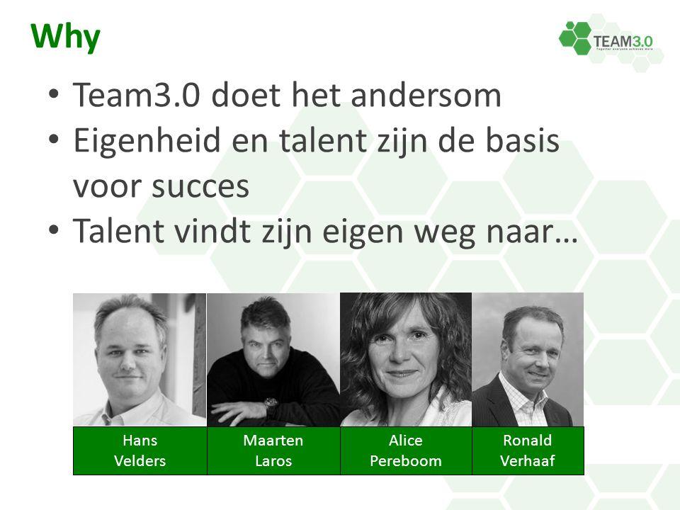 Hans Velders Maarten Laros Alice Pereboom Ronald Verhaaf Why Team3.0 doet het andersom Eigenheid en talent zijn de basis voor succes Talent vindt zijn eigen weg naar…