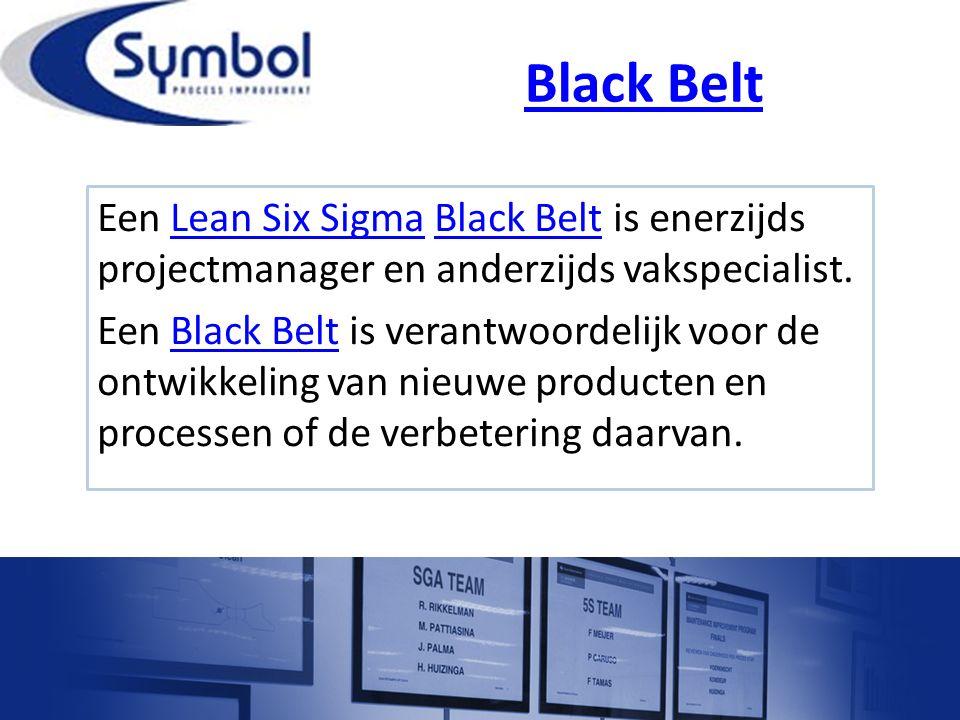 Black Belt Een Lean Six Sigma Black Belt is enerzijds projectmanager en anderzijds vakspecialist.Lean Six SigmaBlack Belt Een Black Belt is verantwoor