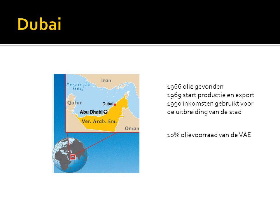 1966 olie gevonden 1969 start productie en export 1990 inkomsten gebruikt voor de uitbreiding van de stad 10% olievoorraad van de VAE