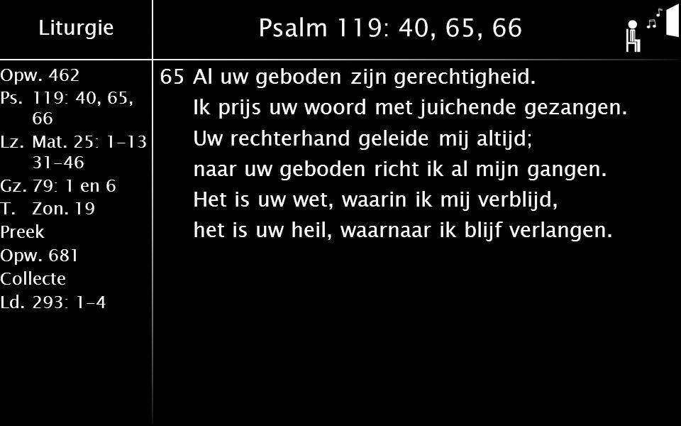 Liturgie Opw.462 Ps.119: 40, 65, 66 Lz.Mat. 25: 1-13 31-46 Gz.79: 1 en 6 T.Zon. 19 Preek Opw.681 Collecte Ld.293: 1-4 Psalm 119: 40, 65, 66 65Al uw ge
