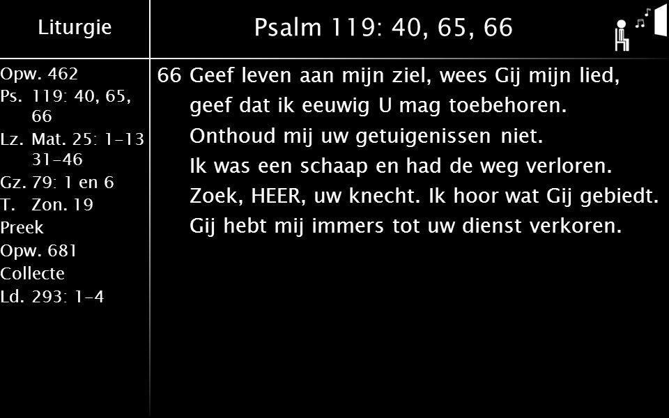 Liturgie Opw.462 Ps.119: 40, 65, 66 Lz.Mat. 25: 1-13 31-46 Gz.79: 1 en 6 T.Zon. 19 Preek Opw.681 Collecte Ld.293: 1-4 Psalm 119: 40, 65, 66 66Geef lev