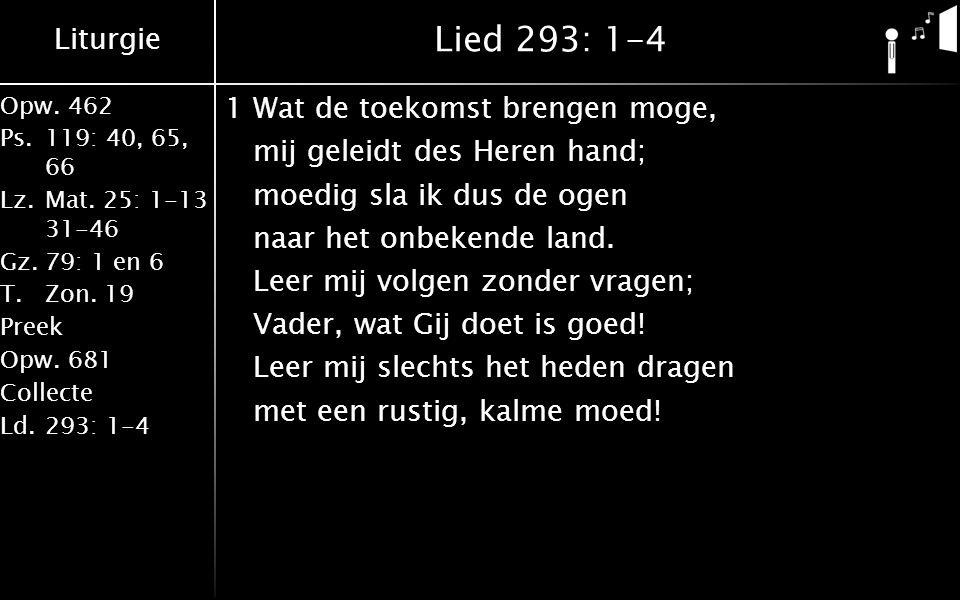 Liturgie Opw.462 Ps.119: 40, 65, 66 Lz.Mat. 25: 1-13 31-46 Gz.79: 1 en 6 T.Zon. 19 Preek Opw.681 Collecte Ld.293: 1-4 Lied 293: 1-4 1Wat de toekomst b