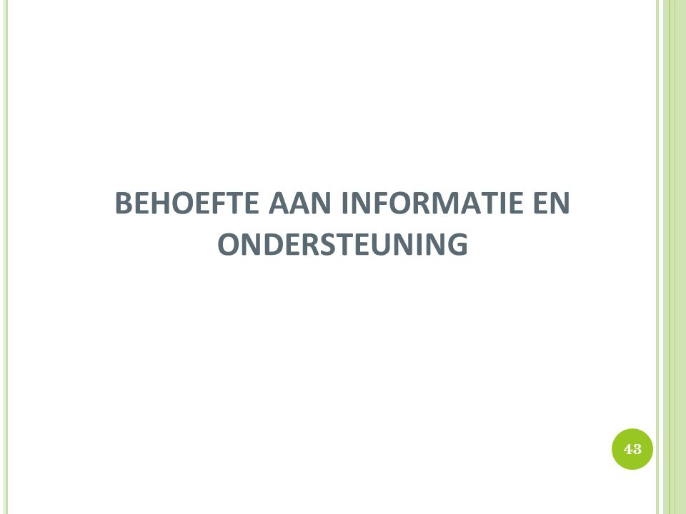 BEHOEFTE AAN INFORMATIE EN ONDERSTEUNING 43