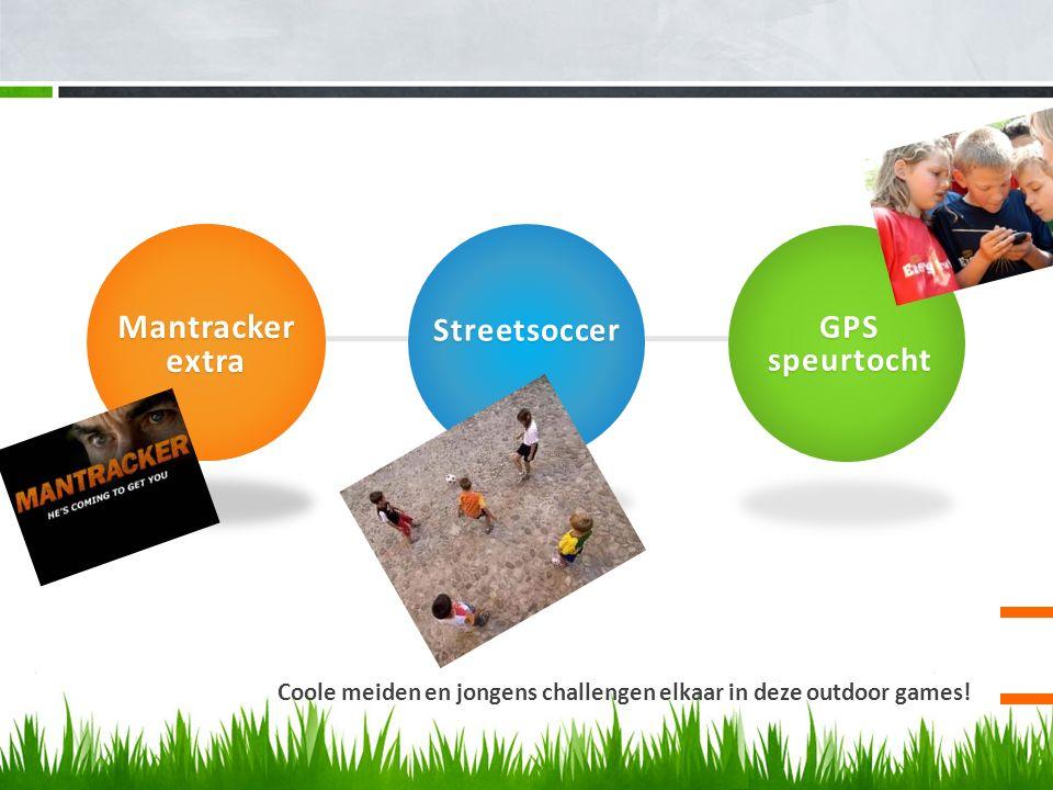 Coole meiden en jongens challengen elkaar in deze outdoor games! Mantrackerextra Streetsoccer GPS speurtocht