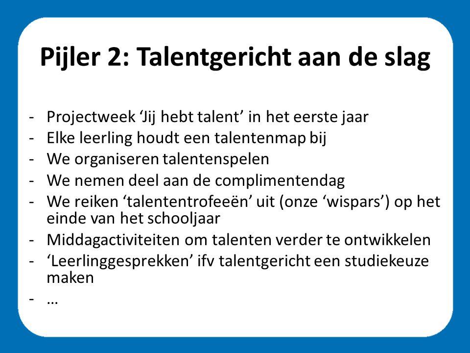 Pijler 2: Talentgericht aan de slag -Projectweek 'Jij hebt talent' in het eerste jaar -Elke leerling houdt een talentenmap bij -We organiseren talentenspelen -We nemen deel aan de complimentendag -We reiken 'talententrofeeën' uit (onze 'wispars') op het einde van het schooljaar -Middagactiviteiten om talenten verder te ontwikkelen -'Leerlinggesprekken' ifv talentgericht een studiekeuze maken -…