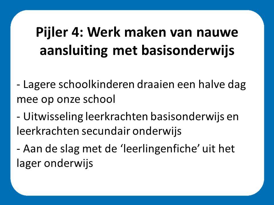 Pijler 4: Werk maken van nauwe aansluiting met basisonderwijs - Lagere schoolkinderen draaien een halve dag mee op onze school - Uitwisseling leerkrachten basisonderwijs en leerkrachten secundair onderwijs - Aan de slag met de 'leerlingenfiche' uit het lager onderwijs