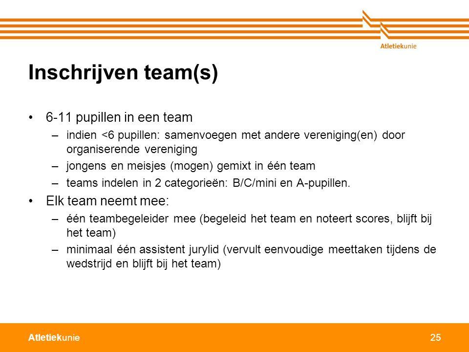 Atletiekunie25 Inschrijven team(s) 6-11 pupillen in een team –indien <6 pupillen: samenvoegen met andere vereniging(en) door organiserende vereniging –jongens en meisjes (mogen) gemixt in één team –teams indelen in 2 categorieën: B/C/mini en A-pupillen.