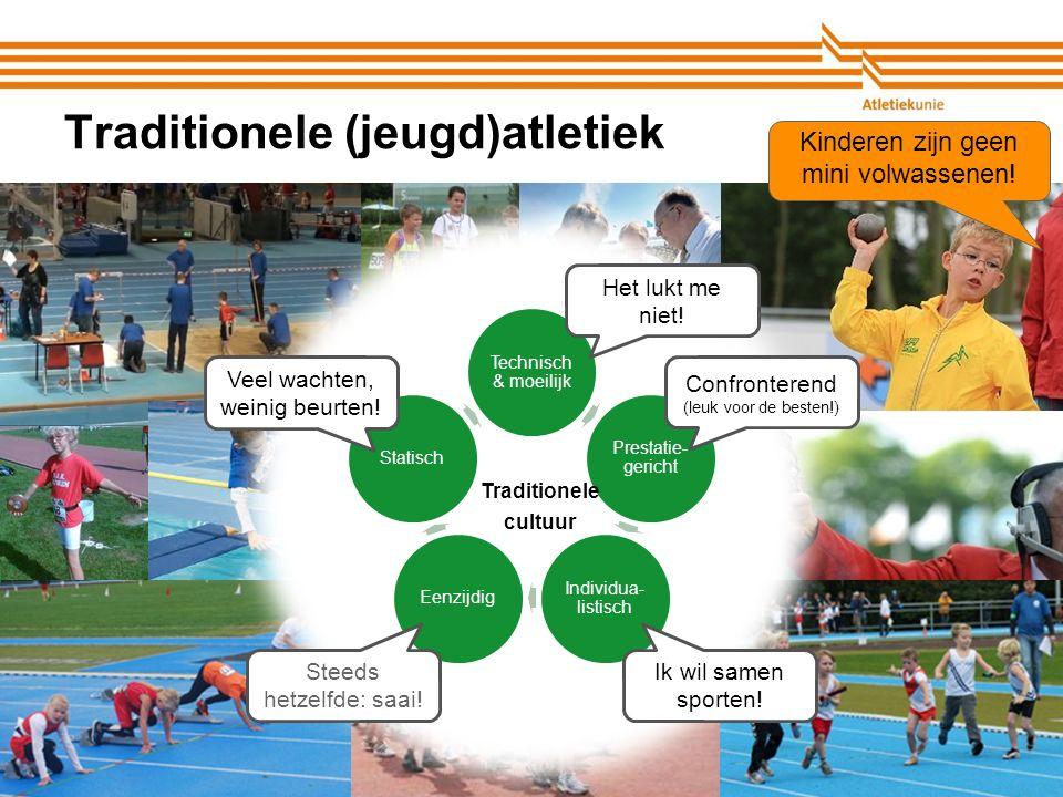 Atletiekunie Traditionele (jeugd)atletiek Technisch & moeilijk Prestatie- gericht Individua- listisch EenzijdigStatisch Traditionele cultuur Confronterend (leuk voor de besten!) Ik wil samen sporten.