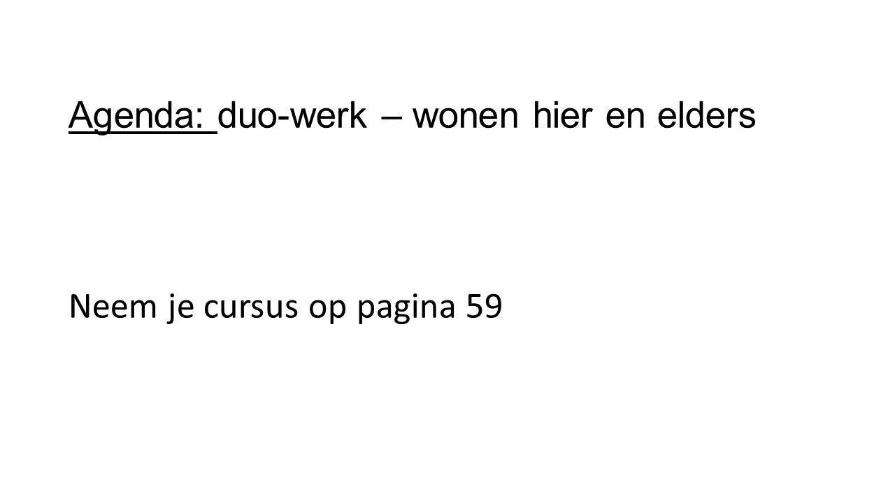 Agenda: duo-werk – wonen hier en elders Neem je cursus op pagina 59