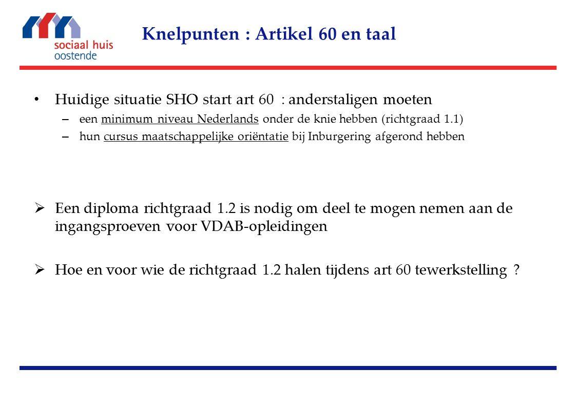 Huidige situatie SHO start art 60 : anderstaligen moeten – een minimum niveau Nederlands onder de knie hebben (richtgraad 1.1) – hun cursus maatschappelijke oriëntatie bij Inburgering afgerond hebben  Een diploma richtgraad 1.2 is nodig om deel te mogen nemen aan de ingangsproeven voor VDAB-opleidingen  Hoe en voor wie de richtgraad 1.2 halen tijdens art 60 tewerkstelling .