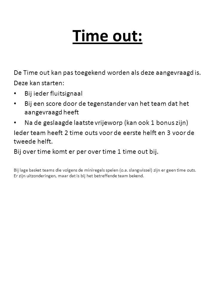 Time out: De Time out kan pas toegekend worden als deze aangevraagd is.