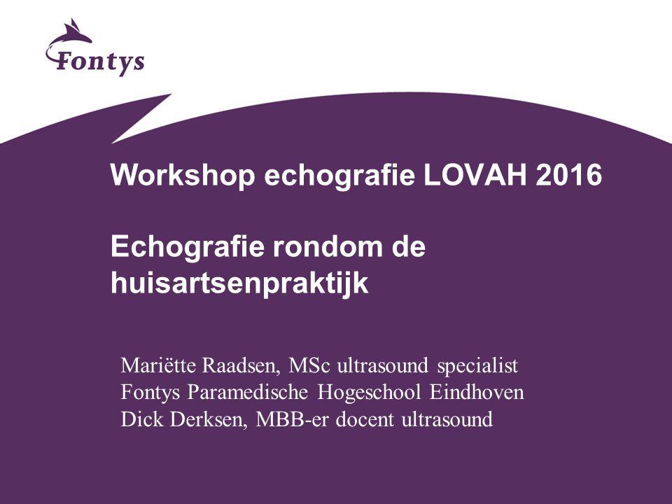 Workshop echografie LOVAH 2016 Echografie rondom de huisartsenpraktijk Mariëtte Raadsen, MSc ultrasound specialist Fontys Paramedische Hogeschool Eind