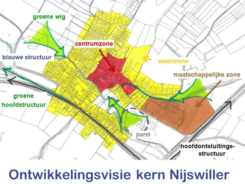 woonzone centrumzone maatschappelijke zone groene hoofdstructuur blauwe structuur Ontwikkelingsvisie kern Nijswiller hoofdontsluitings- structuur groene wig parel