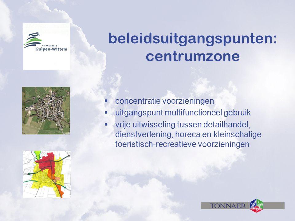 beleidsuitgangspunten: centrumzone  concentratie voorzieningen  uitgangspunt multifunctioneel gebruik  vrije uitwisseling tussen detailhandel, dienstverlening, horeca en kleinschalige toeristisch-recreatieve voorzieningen
