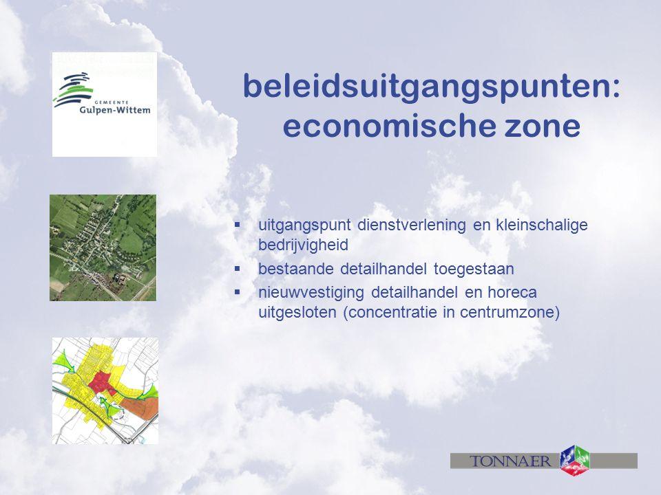 beleidsuitgangspunten: economische zone  uitgangspunt dienstverlening en kleinschalige bedrijvigheid  bestaande detailhandel toegestaan  nieuwvesti