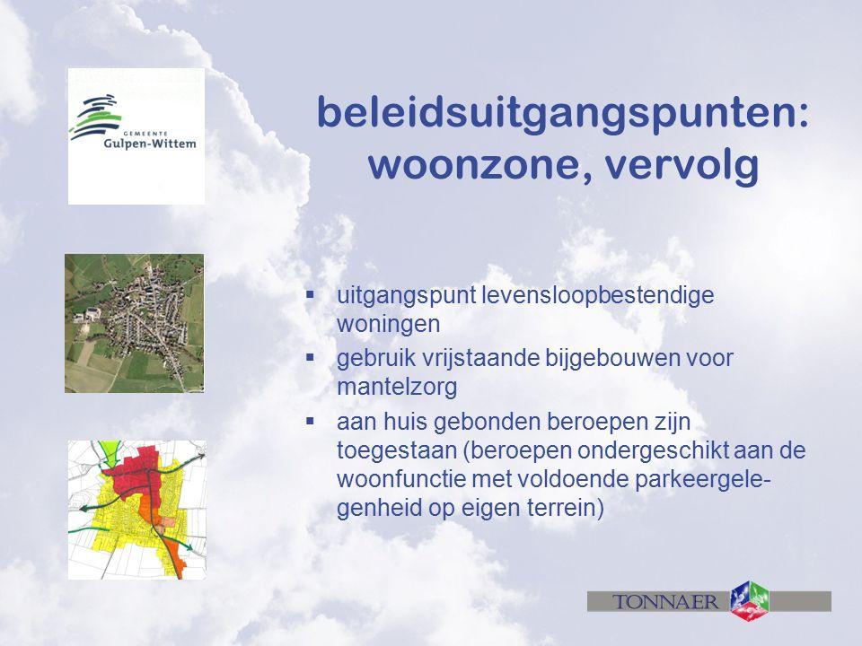 beleidsuitgangspunten: woonzone, vervolg  uitgangspunt levensloopbestendige woningen  gebruik vrijstaande bijgebouwen voor mantelzorg  aan huis geb