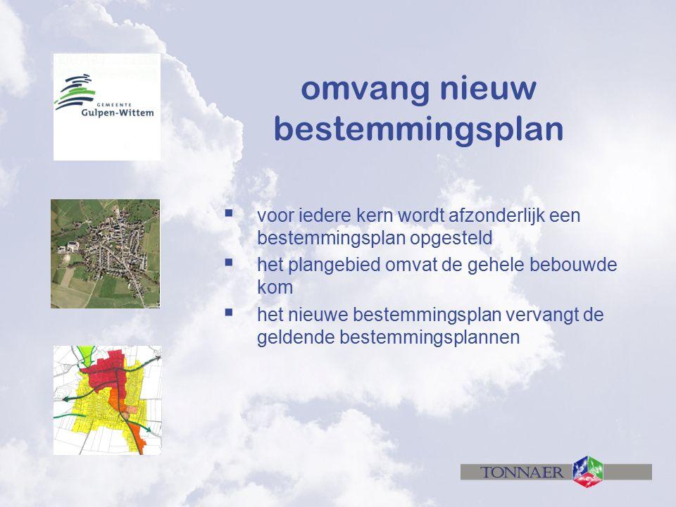 omvang nieuw bestemmingsplan  voor iedere kern wordt afzonderlijk een bestemmingsplan opgesteld  het plangebied omvat de gehele bebouwde kom  het nieuwe bestemmingsplan vervangt de geldende bestemmingsplannen