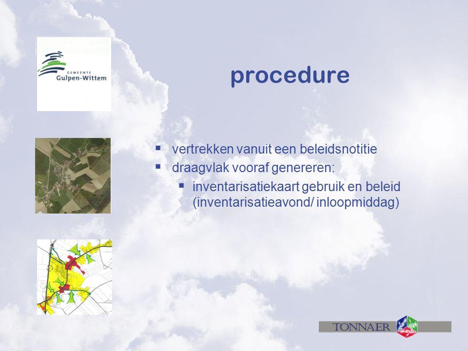 procedure  vertrekken vanuit een beleidsnotitie  draagvlak vooraf genereren:  inventarisatiekaart gebruik en beleid (inventarisatieavond/ inloopmiddag)