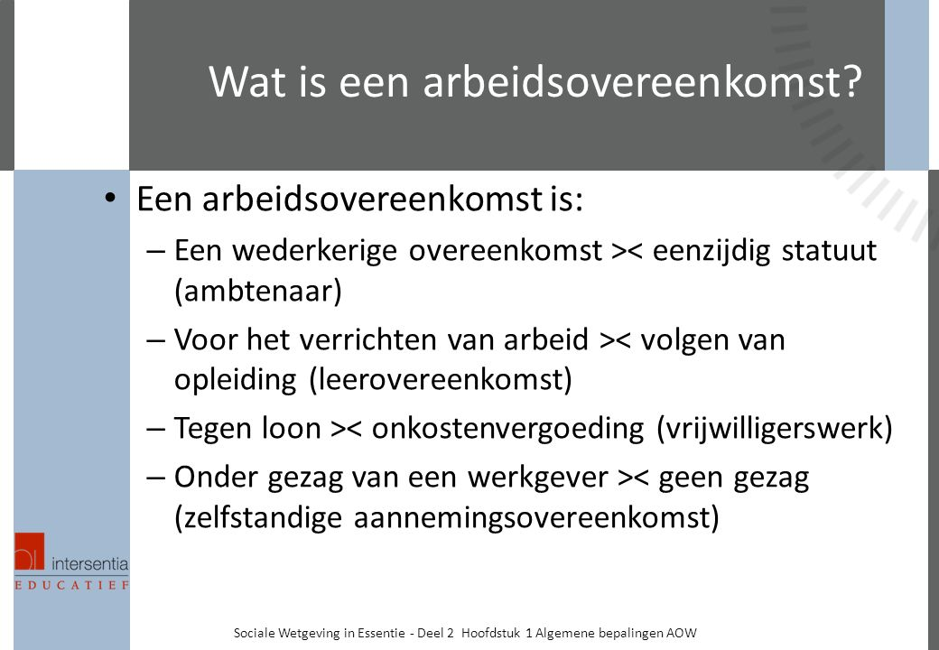Wat is een arbeidsovereenkomst.