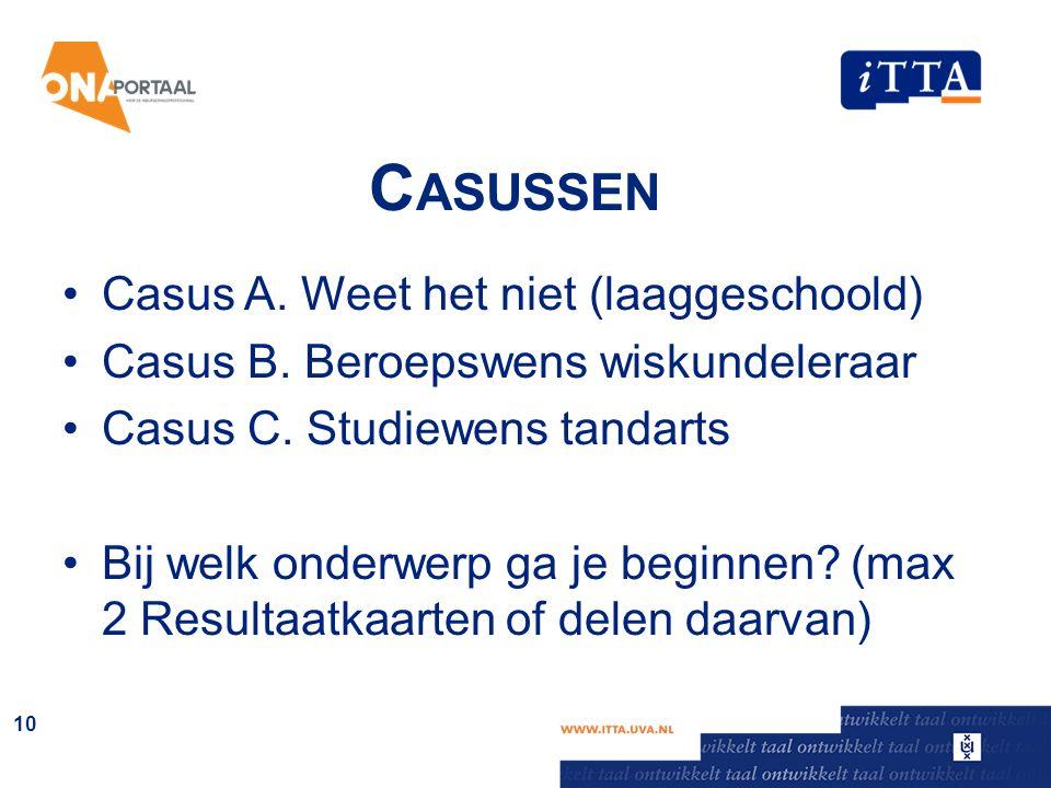 C ASUSSEN Casus A. Weet het niet (laaggeschoold) Casus B. Beroepswens wiskundeleraar Casus C. Studiewens tandarts Bij welk onderwerp ga je beginnen? (