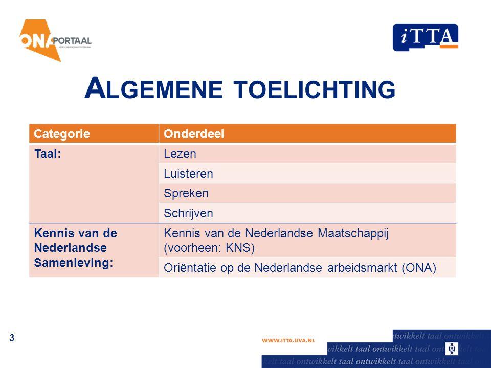 A LGEMENE TOELICHTING CategorieOnderdeel Taal:Lezen Luisteren Spreken Schrijven Kennis van de Nederlandse Samenleving: Kennis van de Nederlandse Maatschappij (voorheen: KNS) Oriëntatie op de Nederlandse arbeidsmarkt (ONA) 3