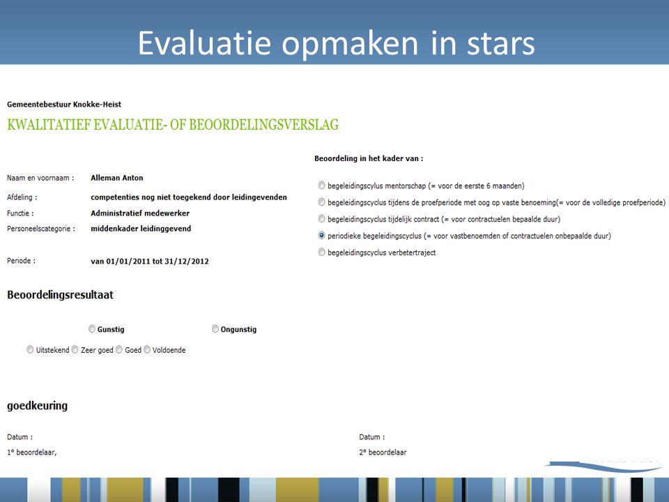 Evaluatie opmaken in stars