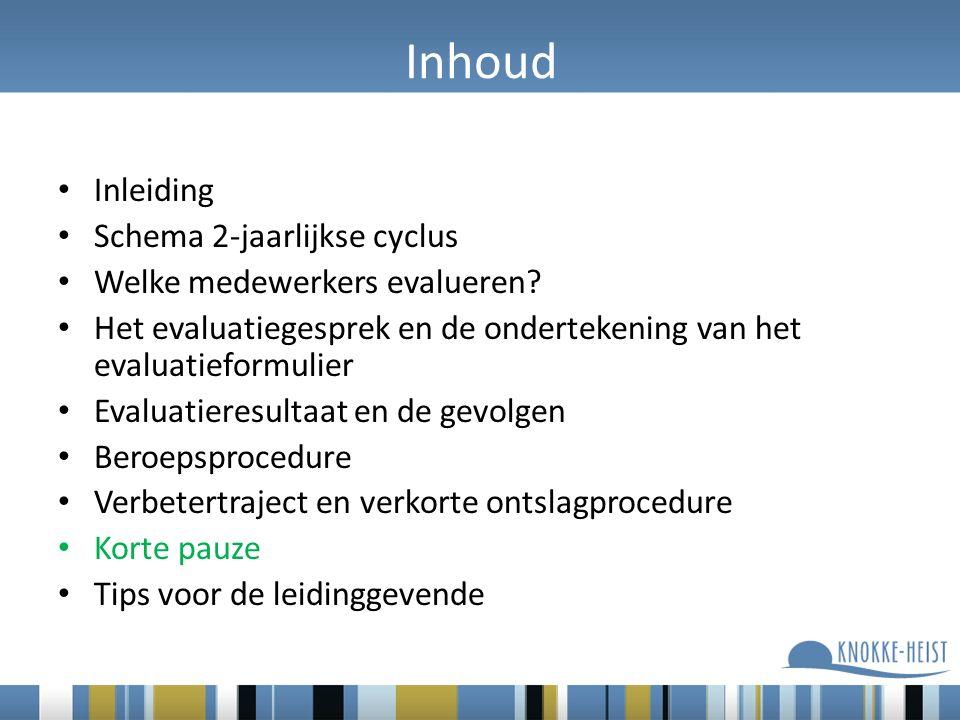 Inhoud Inleiding Schema 2-jaarlijkse cyclus Welke medewerkers evalueren.
