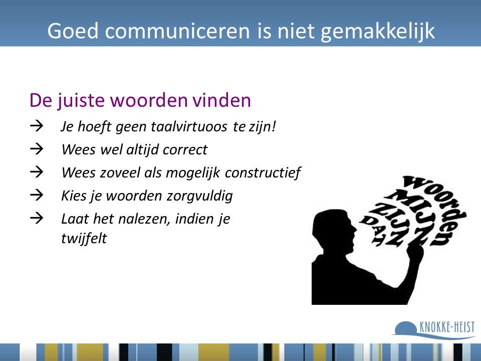 Goed communiceren is niet gemakkelijk De juiste woorden vinden  Je hoeft geen taalvirtuoos te zijn.