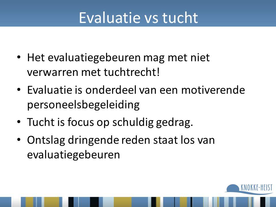 Evaluatie vs tucht Het evaluatiegebeuren mag met niet verwarren met tuchtrecht.