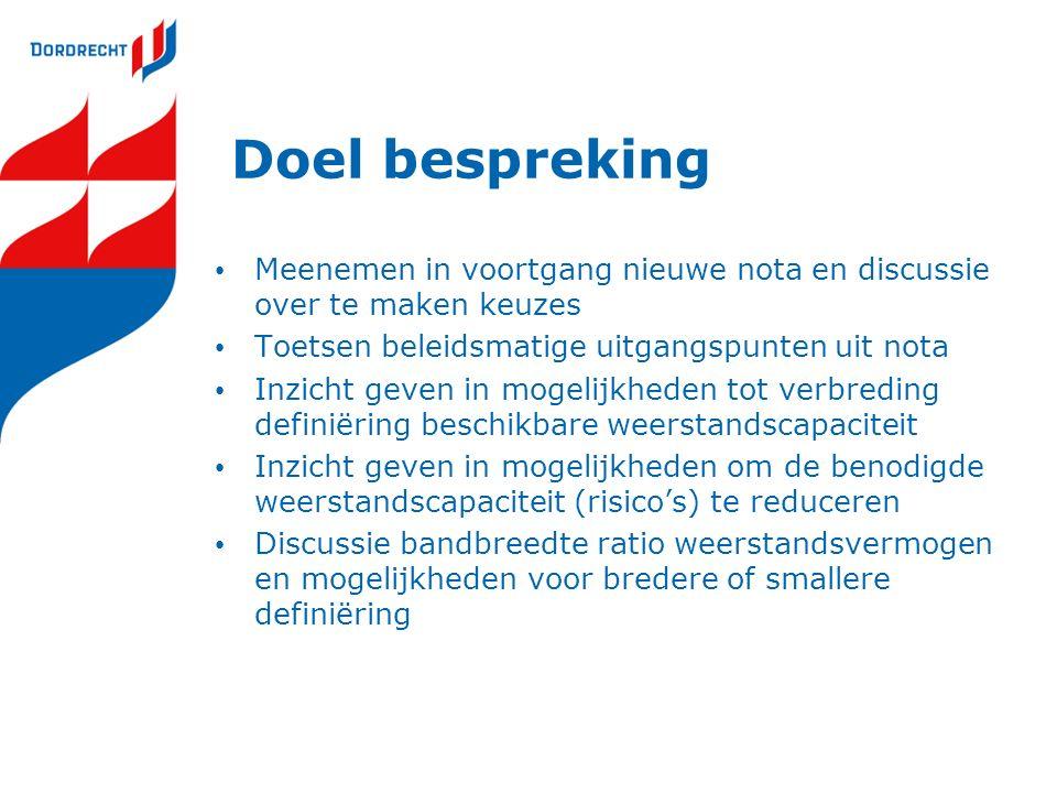 Aanleiding Nota Risicomanagement & Weerstandsvermogen Gemeente Dordrecht November 2012 werkversie