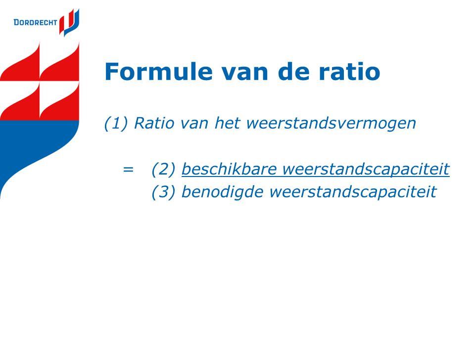 Formule van de ratio (1) Ratio van het weerstandsvermogen =(2) beschikbare weerstandscapaciteit (3) benodigde weerstandscapaciteit