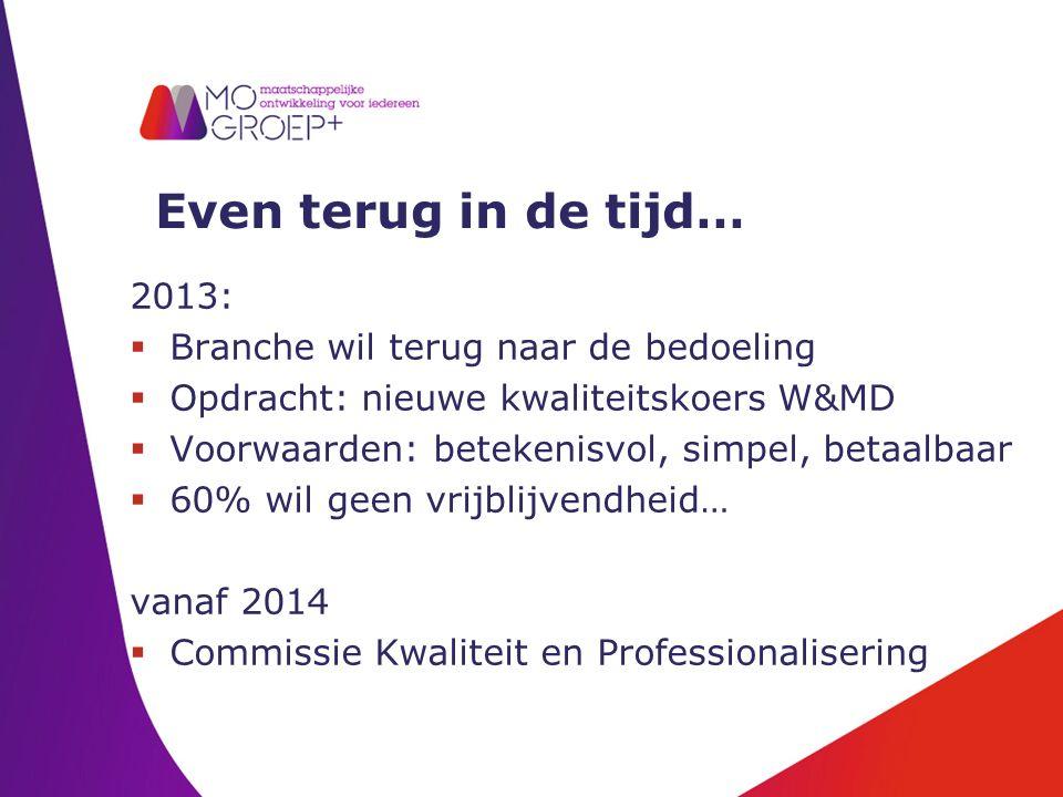 Even terug in de tijd… 2013:  Branche wil terug naar de bedoeling  Opdracht: nieuwe kwaliteitskoers W&MD  Voorwaarden: betekenisvol, simpel, betaalbaar  60% wil geen vrijblijvendheid… vanaf 2014  Commissie Kwaliteit en Professionalisering