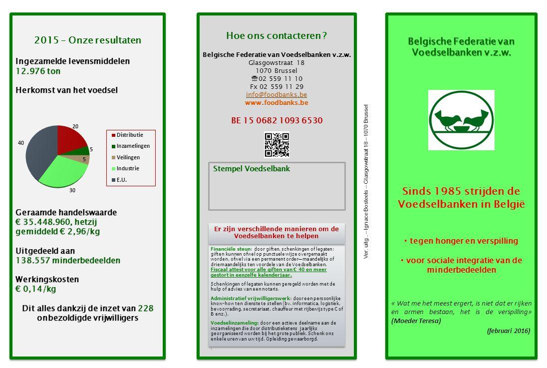 Belgische Federatie van Voedselbanken v.z.w. Sinds 1985 strijden de Voedselbanken in België tegen honger en verspilling voor sociale integratie van de