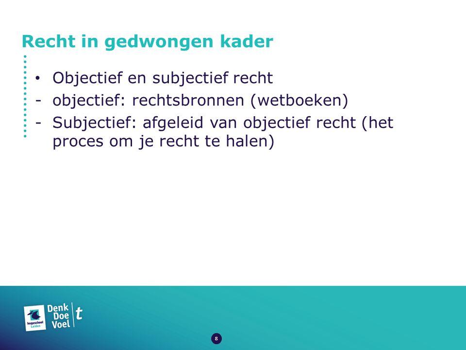 Recht in gedwongen kader Objectief en subjectief recht -objectief: rechtsbronnen (wetboeken) -Subjectief: afgeleid van objectief recht (het proces om