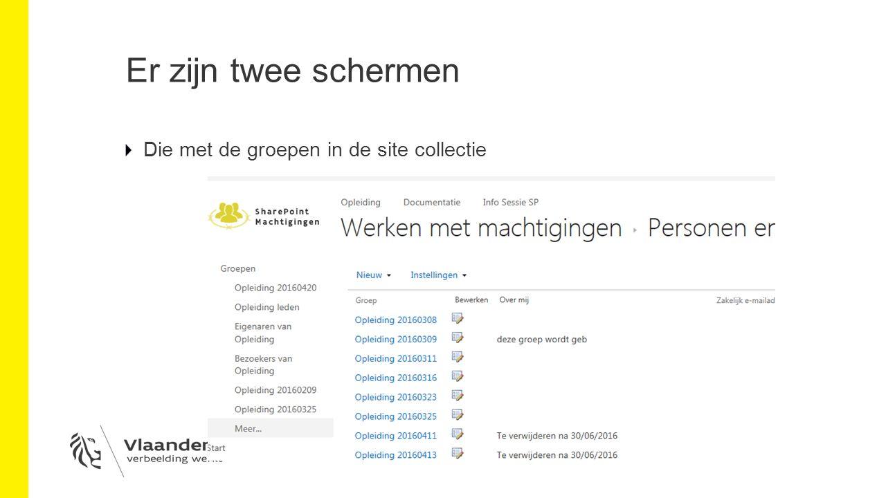 Er zijn twee schermen Die met de groepen in de site collectie