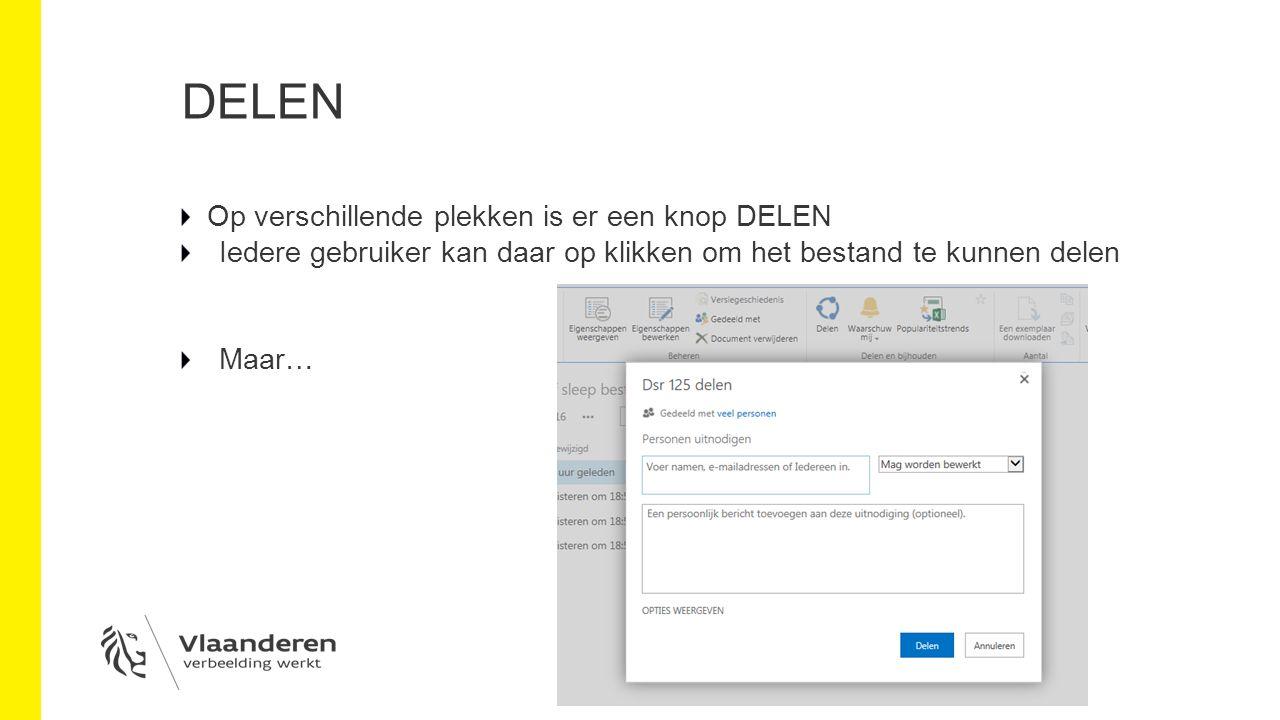 DELEN Op verschillende plekken is er een knop DELEN Iedere gebruiker kan daar op klikken om het bestand te kunnen delen Maar…