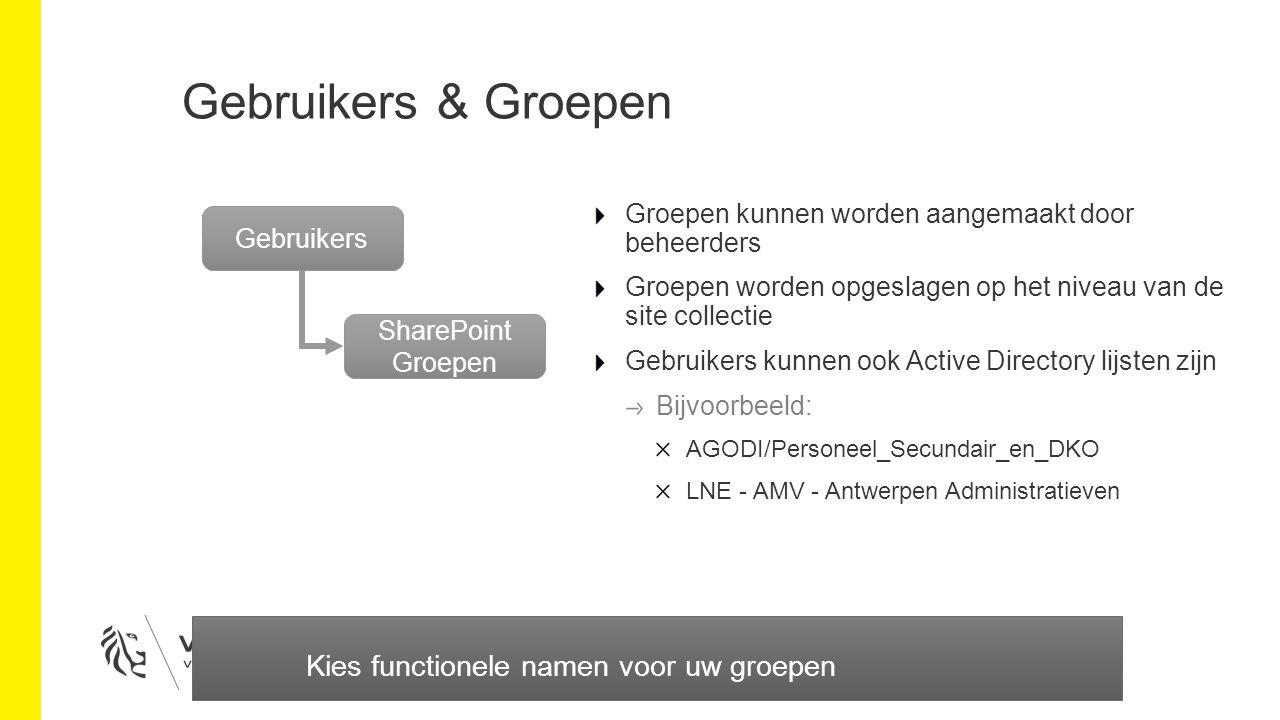 Gebruikers & Groepen Groepen kunnen worden aangemaakt door beheerders Groepen worden opgeslagen op het niveau van de site collectie Gebruikers kunnen ook Active Directory lijsten zijn Bijvoorbeeld: AGODI/Personeel_Secundair_en_DKO LNE - AMV - Antwerpen Administratieven Gebruikers SharePoint Groepen Kies functionele namen voor uw groepen